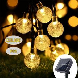 Solar Powered 30 LED String Lights Crystal Ball Outdoor Wate