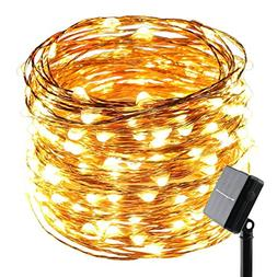 ErChen Solar Powered Copper Wire Led String Lights, 100FT 30