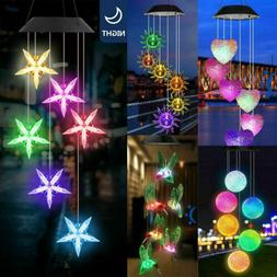 Solar Powered LED Garden Light Wind Chimes Outdoor Colour Ch