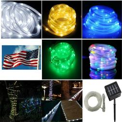 Solar powered rope Led string fairy Lights Strip waterproof