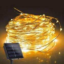 Solar Powered String Light 100 LED Copper Wire Lawn Lights W