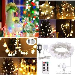 33Ft 100 LED Globe String Lights 8 Lighting Modes W Remote F