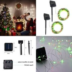 Solar String Lights 32Ft 100LED Outdoor 8 Modes Waterproof D
