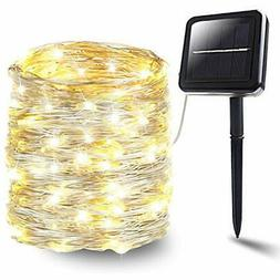 Solar String Lights, 72ft 200 LEDs Silver Wire 8 Modes Fairy
