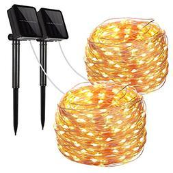 Solar String Lights, 2 Pack 100 LED Solar Fairy Lights 33 Fe