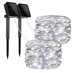 Solar String Lights, 2 Pack 100 LED Solar Fairy Lights 33 fe