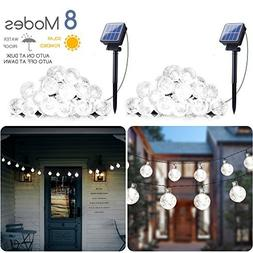 2-Pack Solar String Lights, 20FT 30 LED Crystal Globe Lights