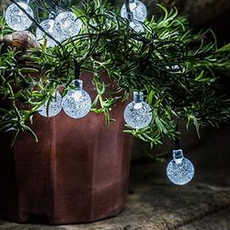 Solar Outdoor String Lights - 2-Pack Voona 30ct 20ft Clear C
