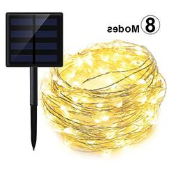 GEEKHOM Solar String Lights, Outdoor Waterproof Warm White S