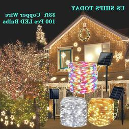 Outdoor Solar String Lights 100 LED Copper Wire Fairy Light