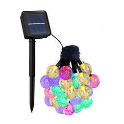 Solar String Lights, Waterproof Globe 8Modes Fairy Orb Cryst