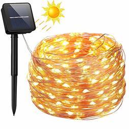 Solar String Lights, 100 LED Solar Fairy Lights 33 feet 8 Mo