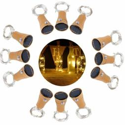Solar Warm Wine Bottle Cork Shape Lights 10 LED Night Fairy