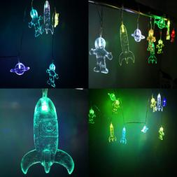 Spaceship Astronaut Saturn Rocket String Lights Battery Oper