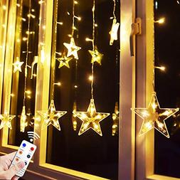 Star Curtain Lights, 8.2ft x 3.2ft 138 LED Remote Window Cur