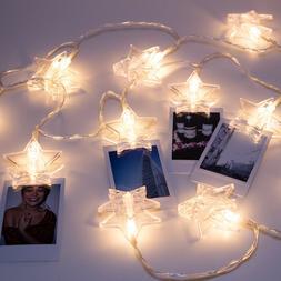 LuxLumi Star Light Star Bright Photo Clip 20 LED String Ligh