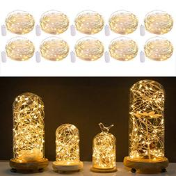Pack of 10 LED Starry String Lights CR2032 Battery Operated,