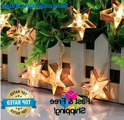 Stars Holiday String Lights  10 LEDs 5.5ft Fairy Lights