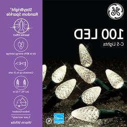 GE StayBright Random Sparkle 100 LED Warm White C5 Lights Gr