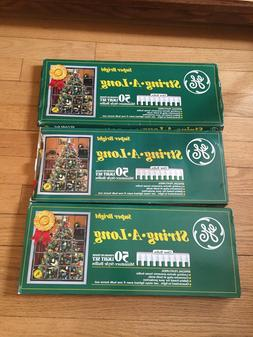 GE STRING-A-LONG 50 INDOOR/OUTDOOR CHRISTMAS LIGHTS~SET OF 3
