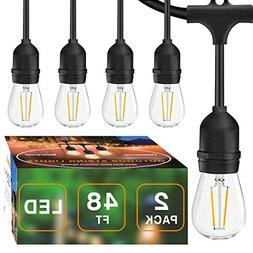 2 Pack LED 48FT Outdoor String Light, Banord Commercial Grad