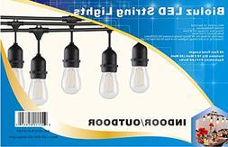 Bioluz LED Outdoor String Lights, 48' LED String Lights for