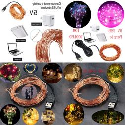 String Lights 100 Leds USB Starry Fairy Waterproof Decorativ