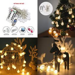 String Lights 50 LED 16.4Ft Warm WHITE Globe Fairy 8 Modes W