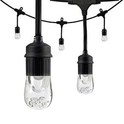 Enbrighten Classic LED Cafe String Lights, Black, 12 Foot Le