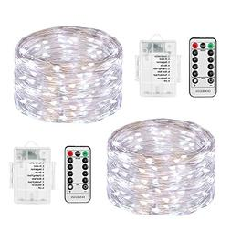 LED String Lights Battery Powered, DOMEZAN 2 Set 16.4ft 50 L