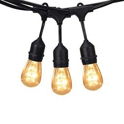 JACKYLED 48FT Outdoor String Lights Edison Style Commercial