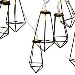 Lewondr String Lights Geometric Black Diamond LED Metal Fair
