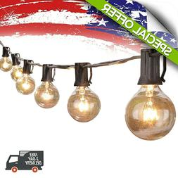 String Lights Globe 25Ft Clear Bulbs Hanging Black Party Dec