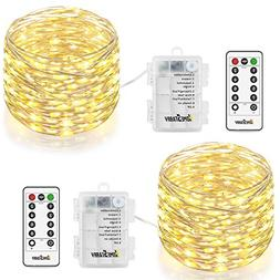 2 Pack String Lights, Battery Operated 66 LED 16.4FT Silver