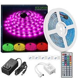 MINGER LED Strip Light Waterproof 16.4ft RGB SMD 5050 LED Ro