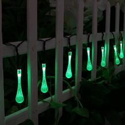 Sunnydaze 30-Count Green Water Drop LED Solar String Lights