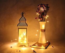 """Memoryee 14"""" Tall White Gold Brushed Metal Lantern with 10 L"""