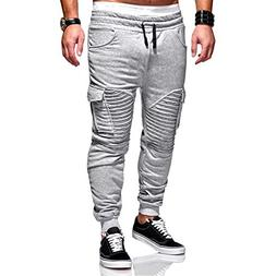 elegantstunning Men Twill Jogger Pants Big Pocket Elastic Dr