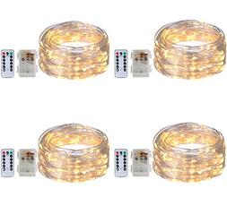 4 Pack Twinkle Fairy String Lights 50 LED 16.4FT Battery Ope