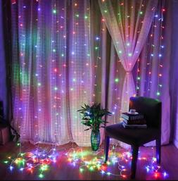 US 3M 300 LED Xmas Window Curtain Icicle String Lights Party