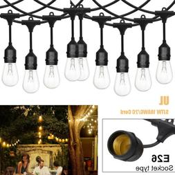 US 48ft E26 Outdoor String Fairy Light Waterproof Commercial