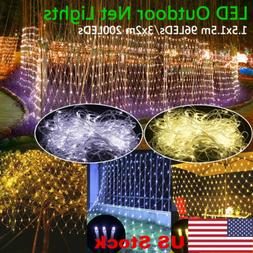 US LED Light Net Mesh Fairy String Light Xmas Curtain Lights