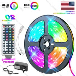 US Local 5M 16.4 ft LED Strip Light SMD 5050 RGB+44 Key Remo