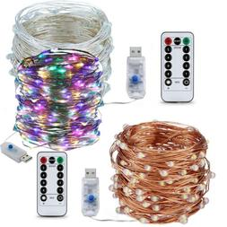 USB 5-20M 50/100/200LED Twinkle LED String Fairy Lights Copp
