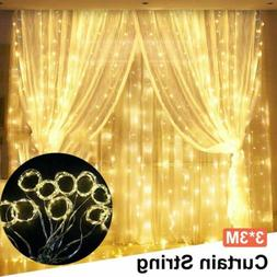 USB Curtain Lights 300LEDs Copper Wire String Lights 8 Modes