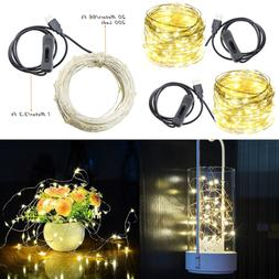 USB Led String Lights 200 Leds 66Ft Waterproof SILVER Wire W