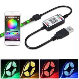 USB Powered 1M 2M 3M 4M 5M RGB LED Strip Light Wireless Blue