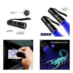 Morpilot 2 Pcs UV Flashlight 12Led Ultraviolet Blacklight Pe