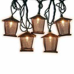 LIDORE 10 Counts Vintage Bronze Iron Nets Lanterns Plug-in S