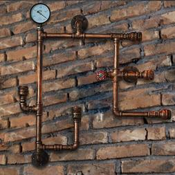Vintage Industrial Retro Water Pipe Steampunk Wall Lamp Scon
